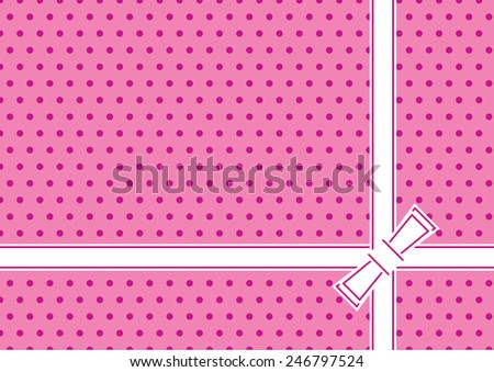 Stylish greeting background with ribbon and bow. Vector. Easy editable colors from swatch panel.