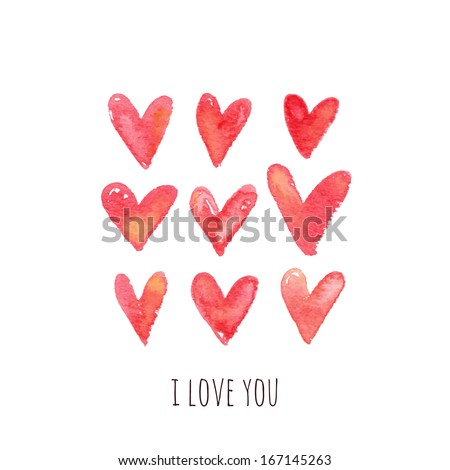 Stylish greeting card with red watercolor hearts. Vector illustration