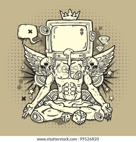 Stylish grunge illustration with TV - stock vector