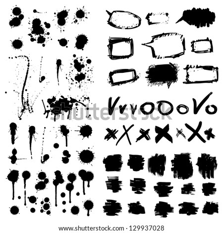 Stylish grunge ink splits set. Design symbols Vector isolated - stock vector