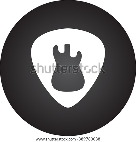 Stylish guitar plectrum pick simple icon  on round background - stock vector