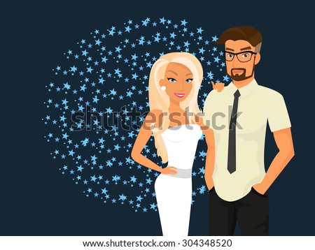 Stylish guy and his pretty girlfriend are going out - stock vector