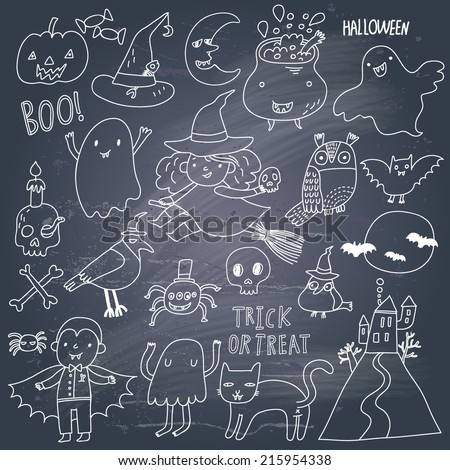 Stylish Halloween set in vector. A lot of scary holiday symbols in cute cartoon style on a texture - stock vector