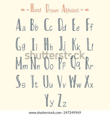 Stylish Hand Drawn Alphabet For Writing Vintage Calligraphic Letters Vector