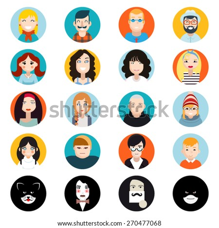 Stylish Handsome Male and Female Characters Avatar Collection of Faces Icons in Flat Design Vector Illustration - stock vector