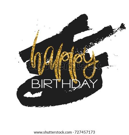Stylish Happy Birthday Card Template Gold Stock Vector 2018