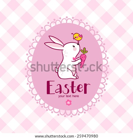 Stylish happy easter card in vector with rabbit  in sweet cartoon style. Easter bunny.  - stock vector