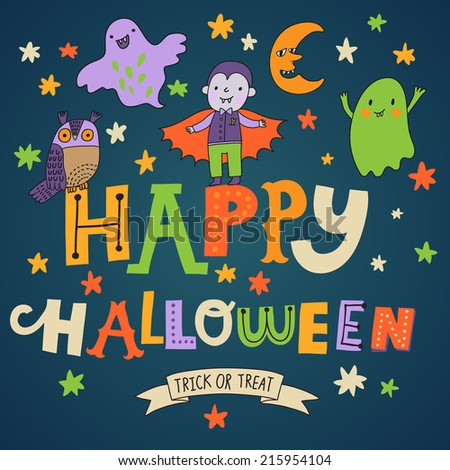 Stylish Happy Halloween background in vector. Cute cartoon holiday card in bright colors - stock vector