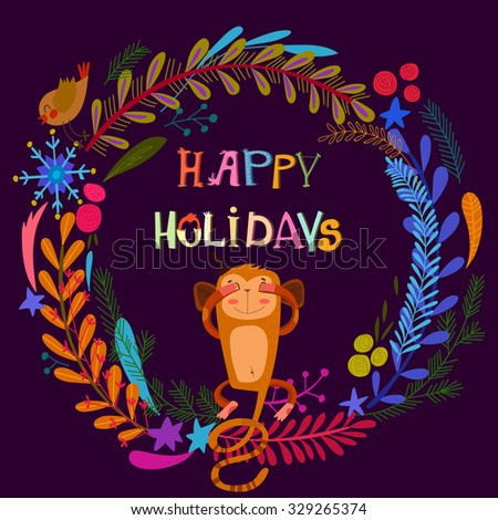 Stylish Happy Holidays card with lovely monkey and bright wreath. - stock vector