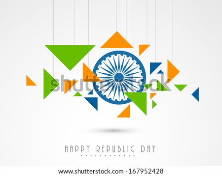 Stylish Happy Indian Republic Day concept with ashoka wheel and hanging national tricolours triangles on grey background.  - stock vector