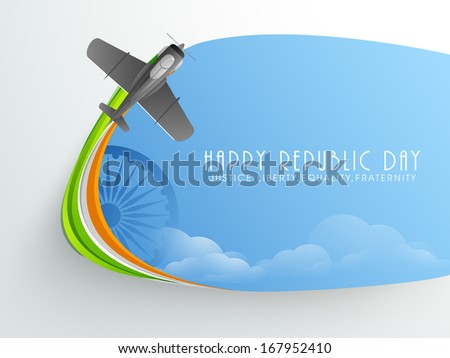 Stylish Happy Indian Republic Day concept with fighter airplane making tricolours wave in the sky.  - stock vector