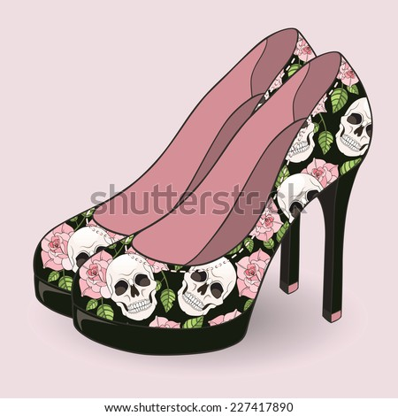 Stylish high-heeled shoes with a pattern of roses and skulls. Vector illustration - stock vector