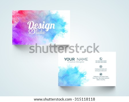 Stylish horizontal business card, visiting card or name card with colorful splash. - stock vector