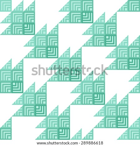 Stylish Houndstooth Seamless Pattern. Repeated Green Triangles Shapes and Stripes on White. Sample for Textile Design - stock vector