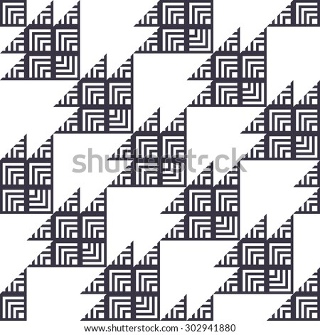 Stylish Houndstooth Seamless Pattern. Repeated Monochrome Triangles Shapes and Stripes on White. Sample for Textile Design - stock vector