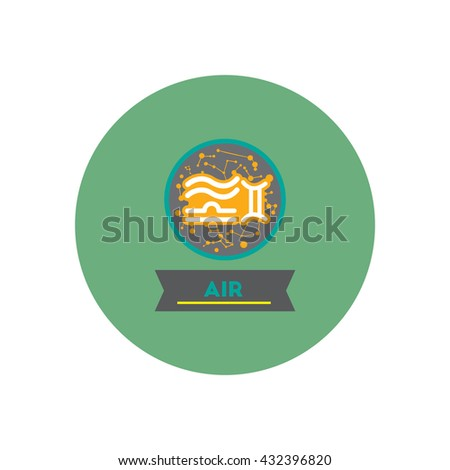 stylish icon in color  circle air sign zodiac - stock vector
