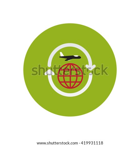 stylish icon in color  circle airplane arrows Planet  - stock vector