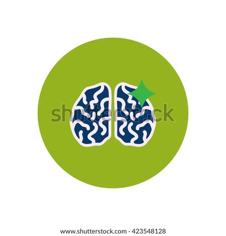 stylish icon in color  circle brain stroke  - stock vector