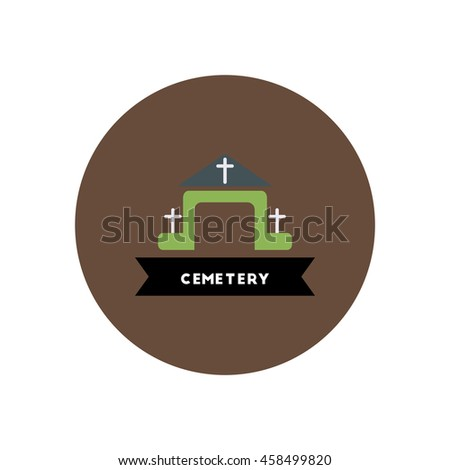 stylish icon in color  circle building cemetery  - stock vector
