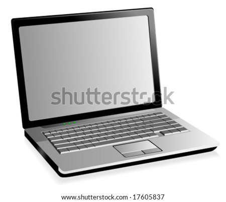 Stylish illustration of a laptop - stock vector