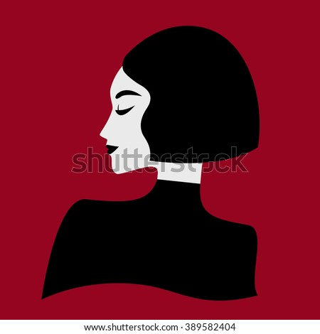 Stylish illustration of woman's profile
