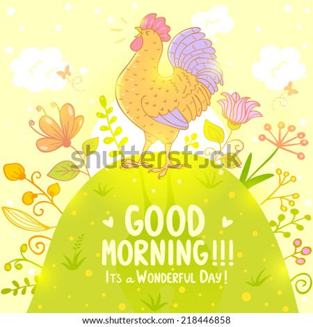 Stylish illustration with beautiful and sweet singing cockerel - stock vector