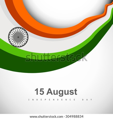 Stylish Indian Independence Day  concept with ashoka wheel in national tricolors wave design - stock vector
