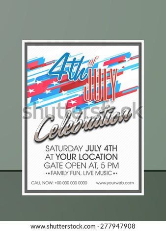 Stylish invitation card design with date, time and place details for 4th of July, American Independence Day celebration. - stock vector