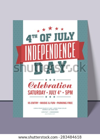 Stylish invitation card for 4th of July, American Independence Day party celebration. - stock vector