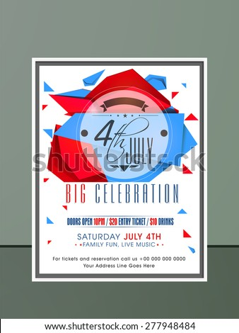 Stylish invitation card with national flag color abstract design for 4th of July, American Independence Day celebration. - stock vector
