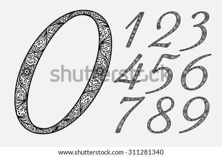 Stylish italic numbers in the form of the ornament. Set. Zero 0 One 1 Two 2 Three 3 Four 4 Five 5 Six 6 Seven 7 eight 8 nine 9. vector. eps8.