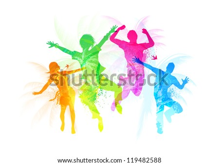 Stylish Jumping People - vector illustration - stock vector