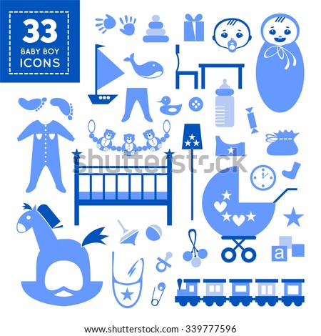 Stylish Kids Elements In Blue Color For Baby Boy Flat Design Editable Icons