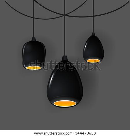 Stylish Loft office lamp lights. Realistic vector mockup illustration.  - stock vector