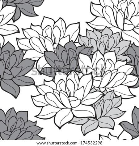 Stylish lotus flowers seamless background - stock vector