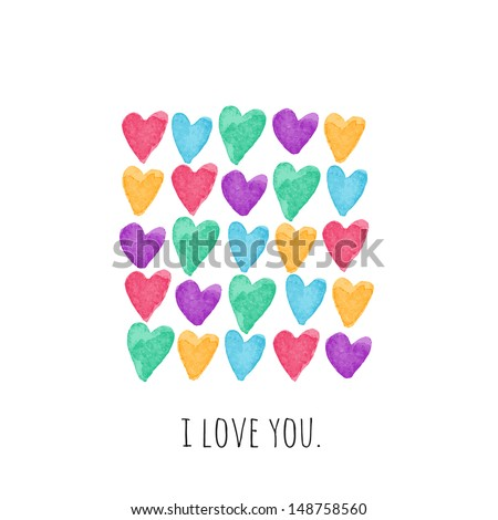Stylish love card with bright watercolor hearts. Vector illustration - stock vector