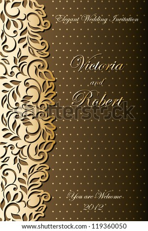Stylish Luxury Wedding Invitation. Abstract floral-lace design - stock vector
