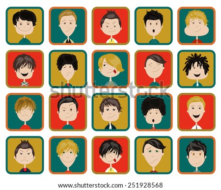 Stylish male people characters collection of various occupation, profession and other social individuals portrait. - stock vector