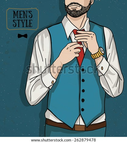 Stylish man in a shirt, vest and tie (vector) - stock vector