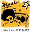 Stylish man with a boombox on the poster of retro style - stock vector