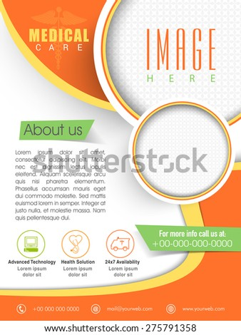 Stylish Medical Care Template, Brochure or Flyer layout with place holders for image. - stock vector