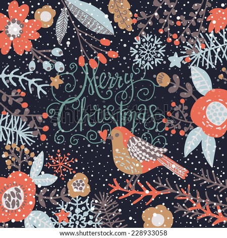 Stylish Merry Christmas card in cool dark colors. Awesome holiday background with birds in flowers and snowflakes - stock vector