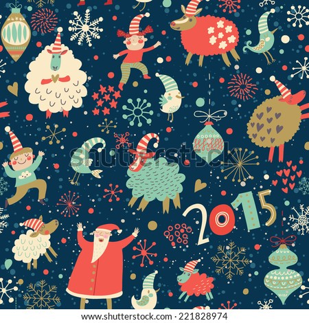 Stylish Merry Christmas seamless pattern with Santa Claus, Elves, sheep, birds, candies and toys in vector. Seamless pattern can be used for wallpapers, pattern fills, web page backgrounds - stock vector