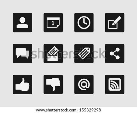Stylish Minimal Blog Icons - stock vector