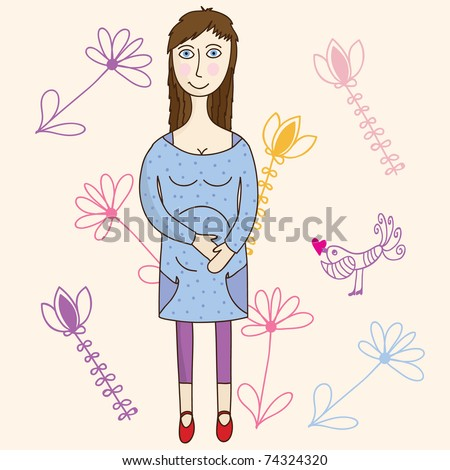 Stylish Mom-to-be in the nursery, wondering if she'll have a girl or a boy? - stock vector