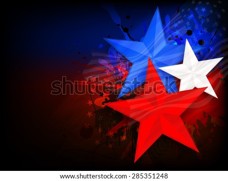 Stylish national flag color stars on creative background for 4th of July, American Independence Day celebration. - stock vector