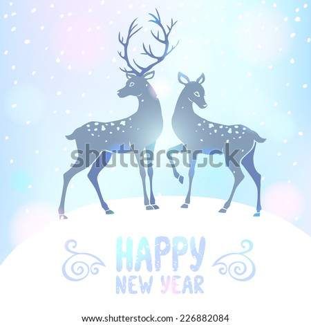 stylish new year card with beautiful silhouettes of two deer