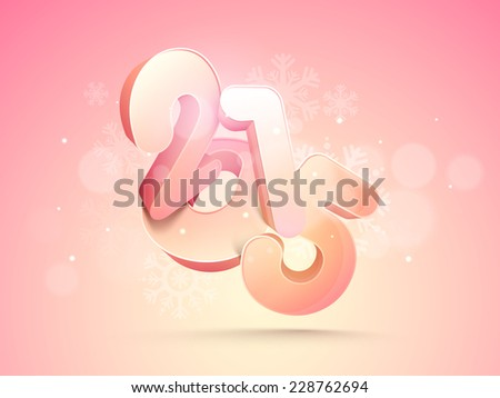 Stylish New Year greeting card design with 3d text 2015 on snowflakes decorated pink background. - stock vector