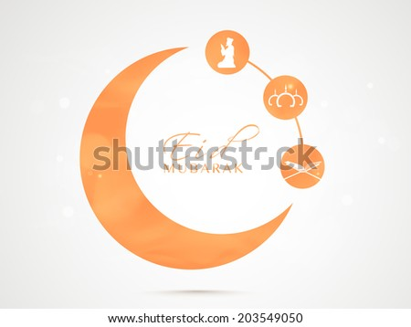 Stylish orange sticky in crescent moon shape with Islamic religious book Quran Shareef, mosque and young muslim man praying on grey background for muslim community festival Eid Mubarak celebrations.  - stock vector