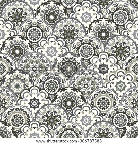 Stylish  ornamental seamless pattern, shades of gray. Can be used for wallpaper, surface textures, textile etc.